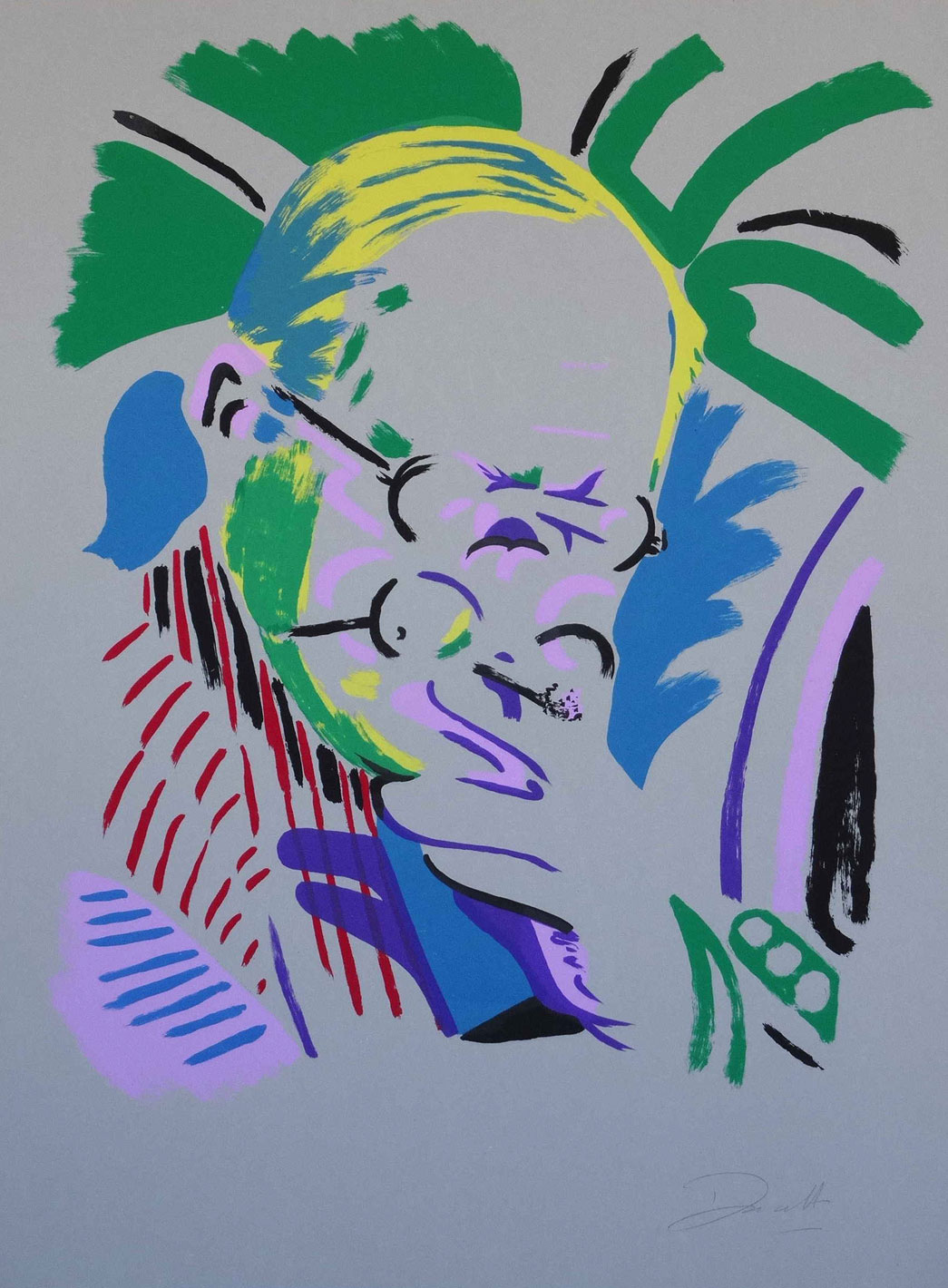 Hockney Takes a Breather, print by Darren Coffield